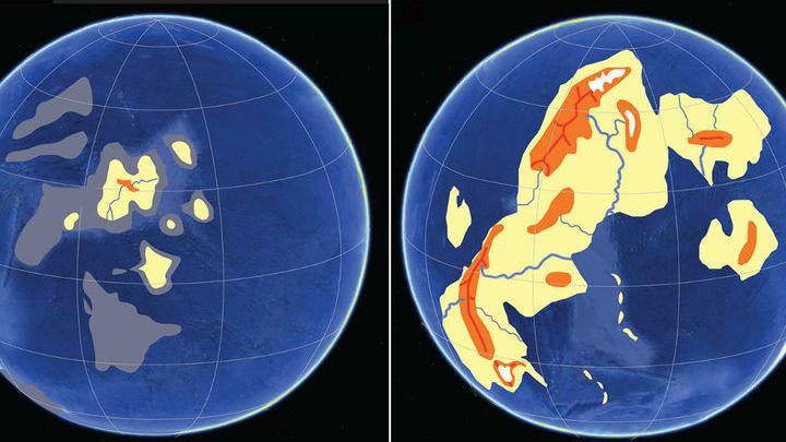"""Гипотетическая карта суши во время начала """"сборки"""" суперконтинента Кенорленд (слева) и в разгар кислородной революции (справа)."""