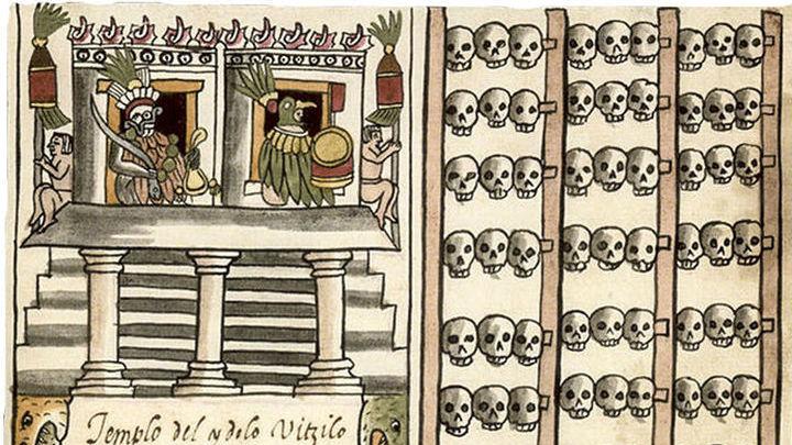 Изображение цомпантли в книге испанского священника.