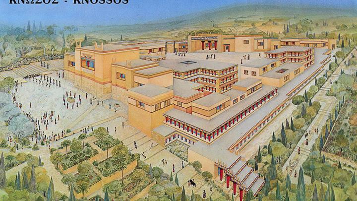Реконструкция. Крит.  Кносский дворец Миноса (II век до н. э.)