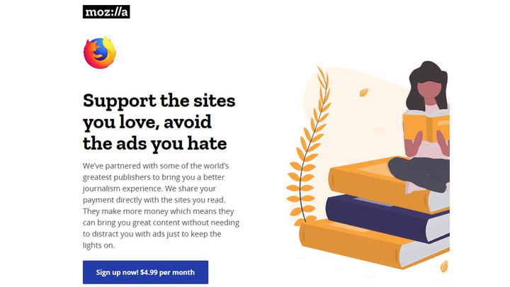 В Firefox тестируют платную подписку на новости без рекламы