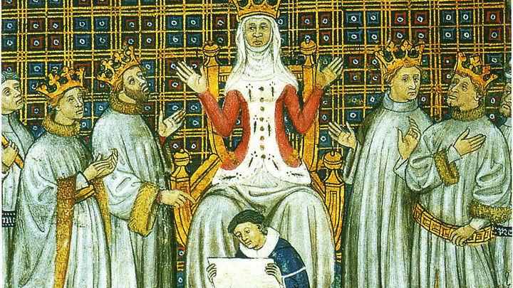 Клотильда Бургундская делит королевство франков между четырьмя сыновьями Хлодвига  / автор неизвестен / Public domain I (Муниципальная библиотека Тулузы).