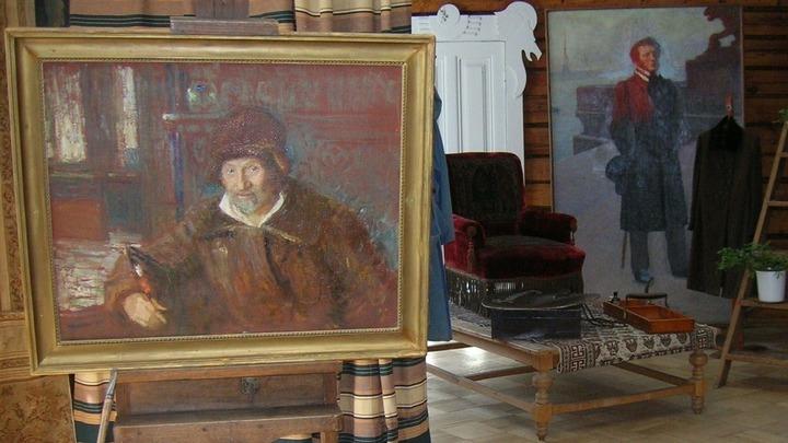 Автопортрет И.Репина 1920 года в мастерской художника  /фото Леонида Варебруса/