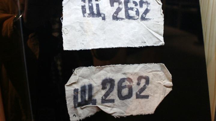 Лагерные нашивки, сохраненные писателем с его номером Щ-262, Экибастус. Фото Леонида Варебруса