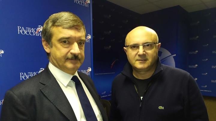 """Алексей Гнедовский и Николай Мамулашвили в студии """"Радио России"""""""