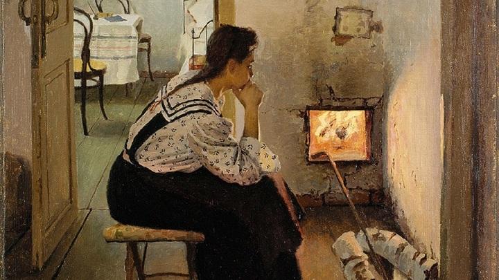 """Калиниченко Яков Яковлевич (1869-1938) """"Думы у печки"""" / Public domain"""