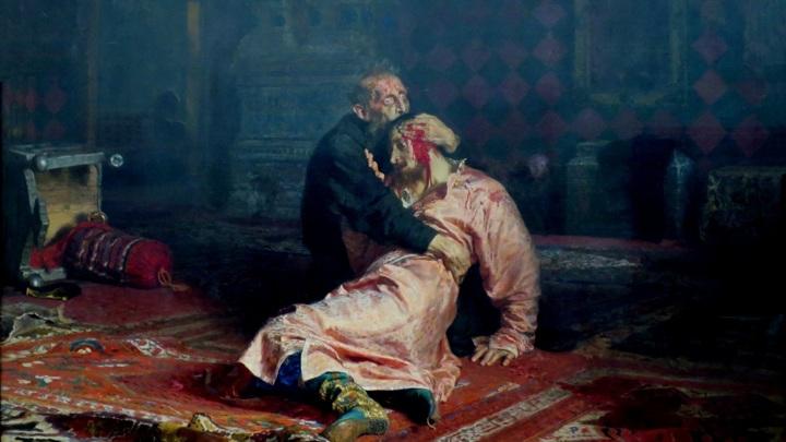"""""""Иван Грозный и сын его Иван 16 ноября 1581 года"""". И.Е. Репин, 1885 год."""