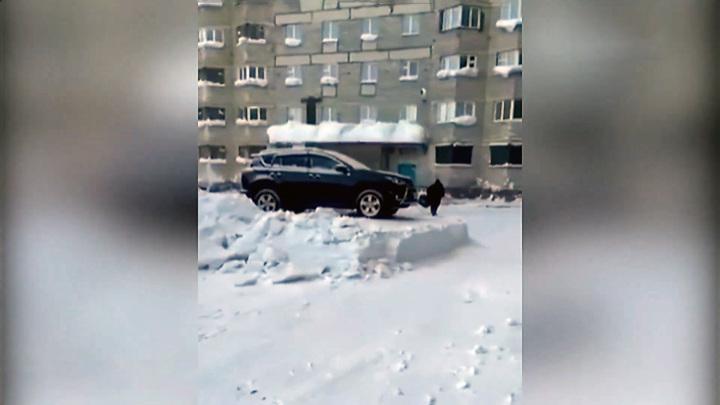 Автомобиль на пьедестале: в Норильске оригинально убрали двор от снега
