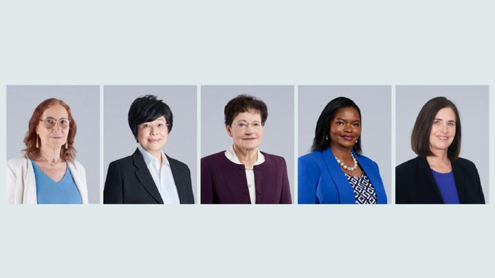 Слева направо: Алисия Дикенштайн, Киоко Нозаки, Франсуаза Комб, Кэтрин Нгила, Шафи Гольдвассер.