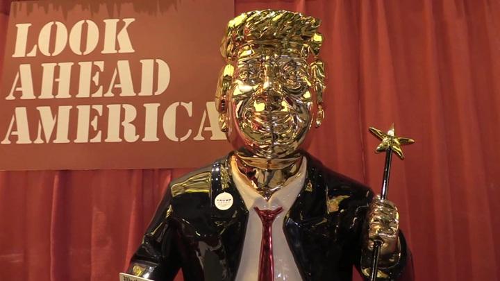 Американский ребус: золотой Трамп и нацистский символ