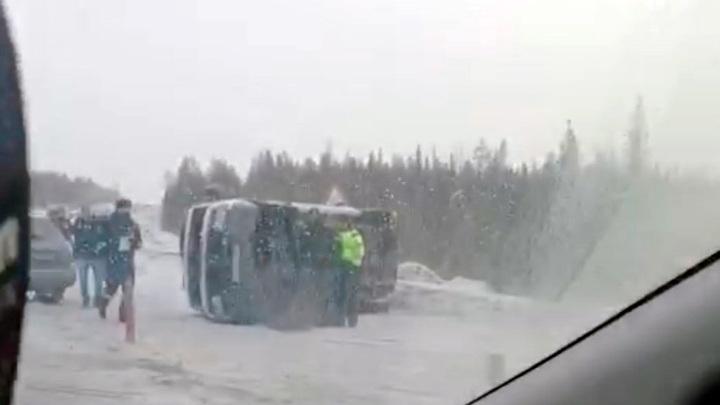 Стали известны обстоятельства аварии с перевернувшимся микроавтобусом под Мончегорском