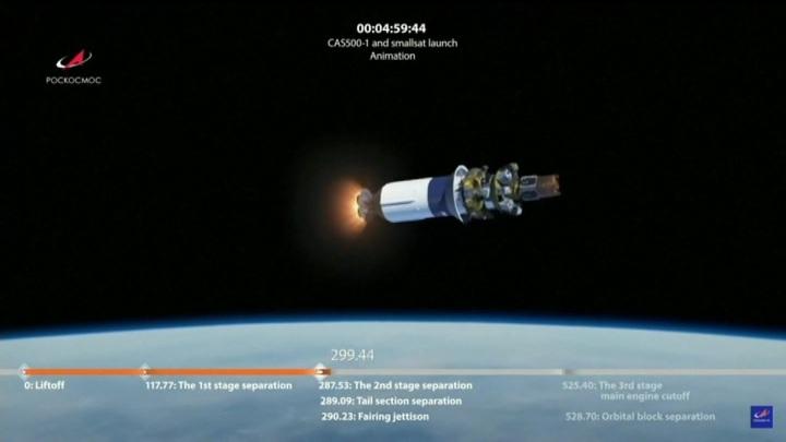 """Все запущенные на орбиту ракетой """"Союз"""" спутники вышли на орбиту"""