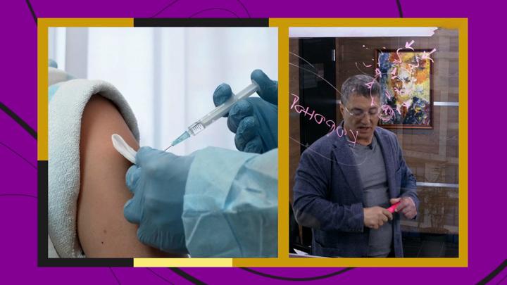 """Кадр из программы """"Доктор Мясников"""". Мясников разрешил пить алкоголь после вакцинации от COVID-19"""