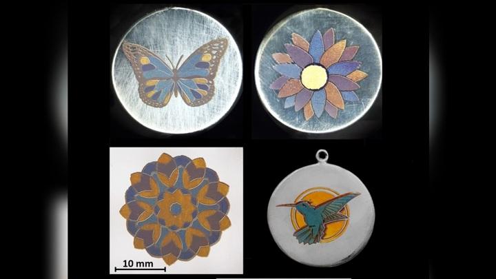 Лазерная обработка металла создаёт богатую палитру цветов.