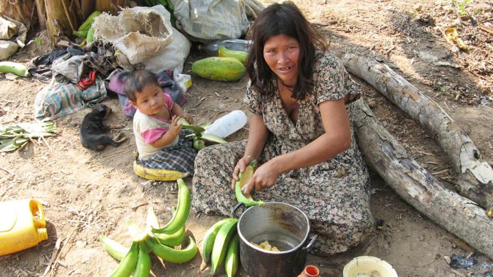 Представительница племени чимане с ребёнком.