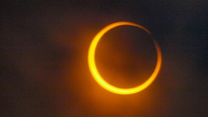 Петербуржцы наблюдают кольцеобразное солнечное затмение вживую
