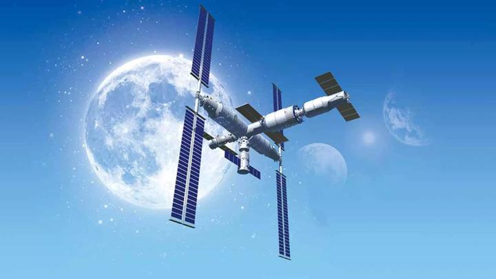 """Предполагаемый внешний вид китайской орбитальной станции """"Тяньгун""""."""