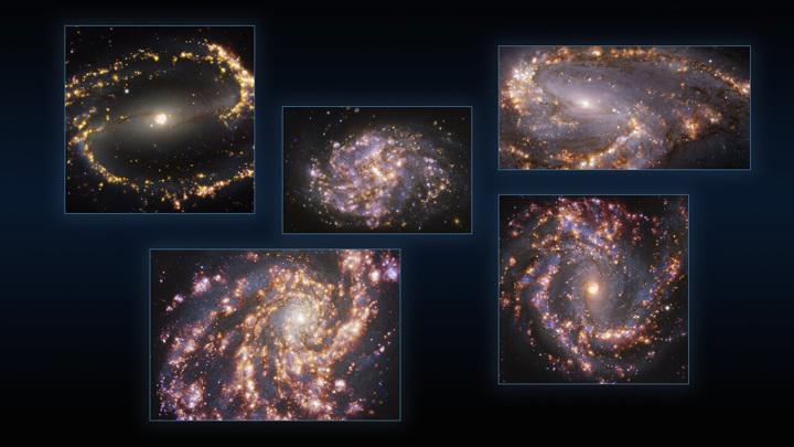 Это фото объединяет наблюдения близлежащих галактик NGC 1300, NGC 1087, NGC 3627 (сверху,  слева направо), NGC 4254 и NGC 4303 (внизу, слева направо), полученные с приёмником MUSE на VLT. Каждое индив
