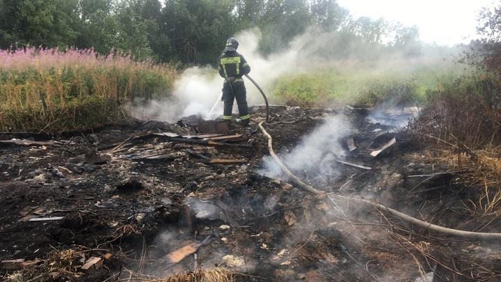 В Вологодской области рядом с деревней произошло возгорание торфа