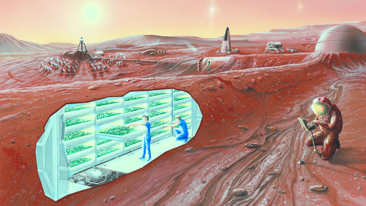 Вид на марсианскую колонию в представлении художника.
