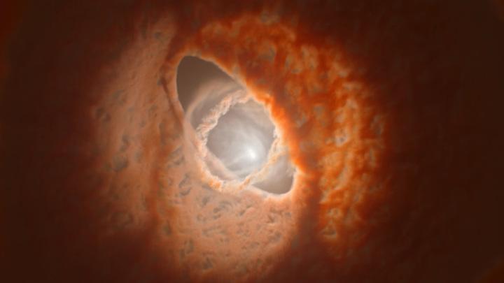 Деформированный протопланетный диск в системе GW Ориона в представлении художника.