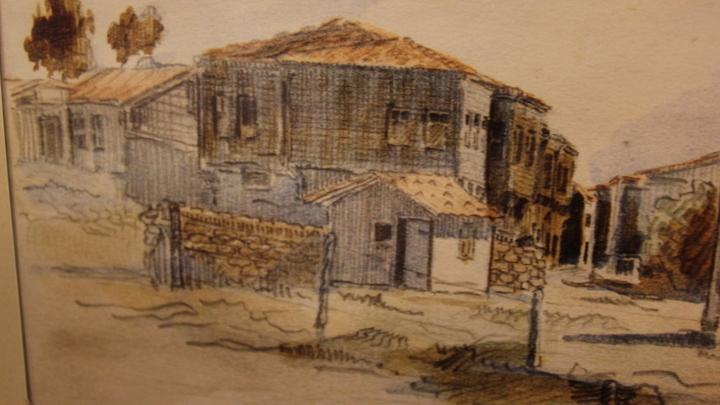 Музей Цветаевой. Галлиполи. Рисунок с натуры поручика М.Кузнецова, Турция, 1920-1921 годы.